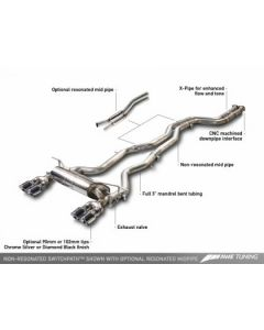 AWE Tuning BMW F8X M3/M4 Resonated SwitchPath Exhaust - Chrome Silver Tips (90mm)